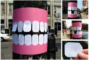 Креативная реклама листовки и объявления: наклейка