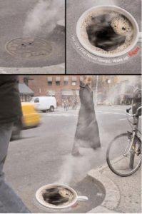 Креативная реклама листовки и объявления: наклейка в виде чашки кофе
