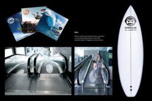 Креативная реклама листовки и объявления: реклама в виде серфа